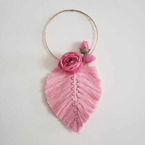 Veilleuse Harmonie rose macramé décoration lumineuse