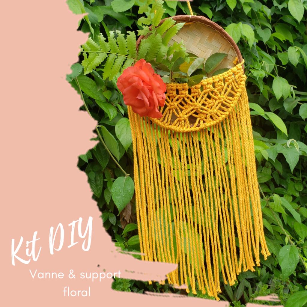 kit diy jardinière en macramé, support floral, vanne de La Réunion, déco originale
