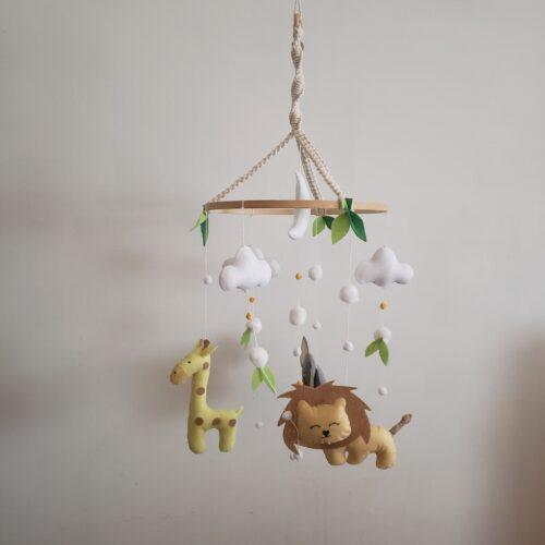 Safari Mobile pour bébé feutrine décoration chambre bébé