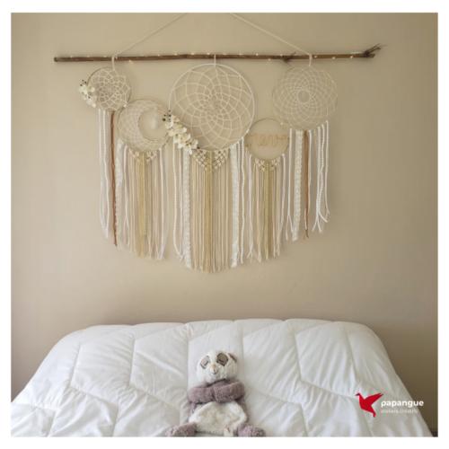 Papangue atelier créatif tête de lit attrape-rêves géant dreamcatcher Réunion fait-main